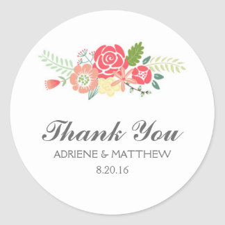 Simply Floral Thank You Wedding Stickers
