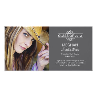 Simply Gorgeous Graduation Announcement - Gray Customized Photo Card