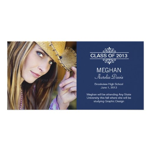 Simply Gorgeous Graduation Announcement - Navy Photo Cards