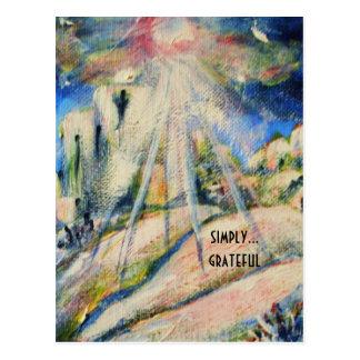 """""""Simply Grateful"""" inspirational postcard"""