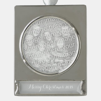 Simply Gray Solid Color Silver Plated Banner Ornament
