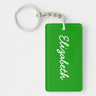Simply Green Solid Color Double-Sided Rectangular Acrylic Key Ring
