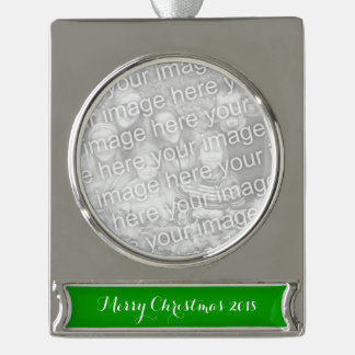 Simply Green Solid Color Silver Plated Banner Ornament