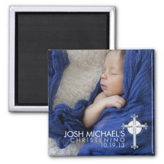 Simply Holy Cross Christening Photo Keepsake Magnet