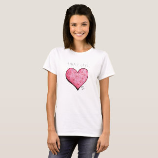 Simply Love Pink Heart Simple Tshirt