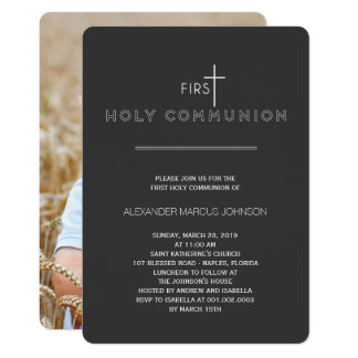 Simply Modern First Holy Communion Stylish Invite