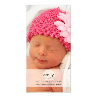 Simply Modern Girl Baby Photo Birth Announcement Card