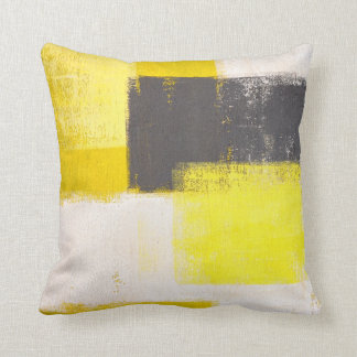 'Simply Modern' Grey and Yellow Abstract Pillow Throw Cushions