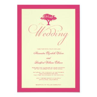 """Simply Nature Fuschia Tree Formal Wedding Invite 5"""" X 7"""" Invitation Card"""