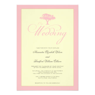Simply Nature Pink Tree Formal Wedding Invitation