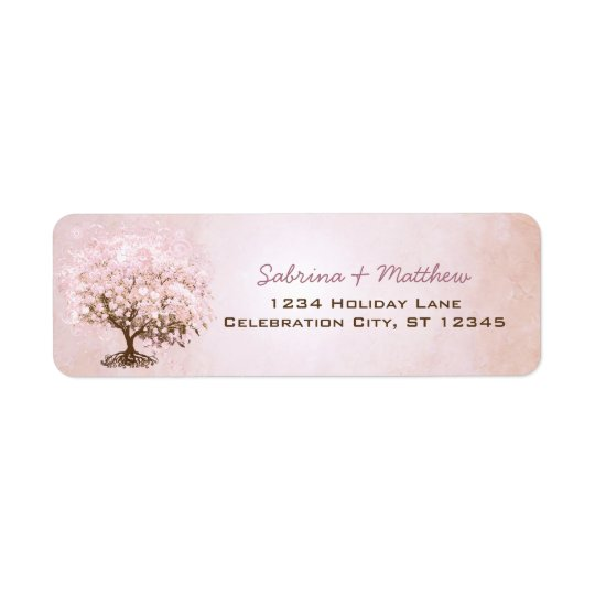 Simply Pink Pale Dogwood Heart Leaf Tree Return Address Label