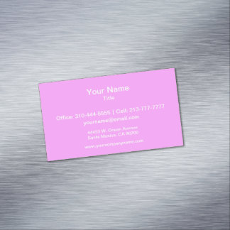 Simply Pink Solid Color Magnetic Business Cards