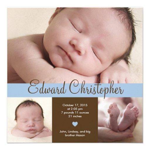Simply Precious Birth Announcement - Blue Custom Invite