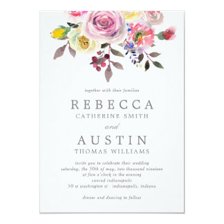 Simply Pretty Floral Wedding Invitation