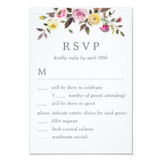 Simply Pretty Wedding RSVP with Menu Options Card