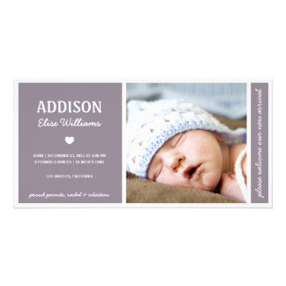 SIMPLY PURE | BABY GIRL BIRTH ANNOUNCEMENT PHOTO GREETING CARD