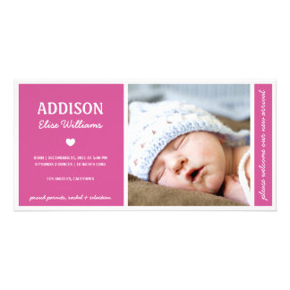 SIMPLY PURE | BABY GIRL BIRTH ANNOUNCEMENT CUSTOM PHOTO CARD