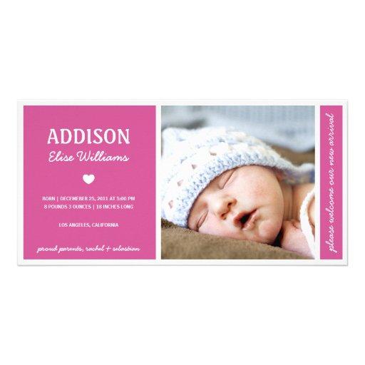 SIMPLY PURE | BABY GIRL BIRTH ANNOUNCEMENT CUSTOM PHOTO CARD