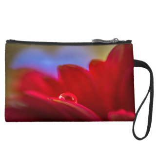 Simply Put a macro pic water droplet on daisy Suede Wristlet