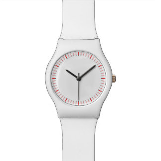 Simply Red And White Numberless Watch