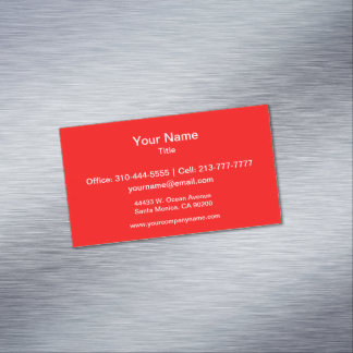 Simply Red Solid Color Magnetic Business Cards