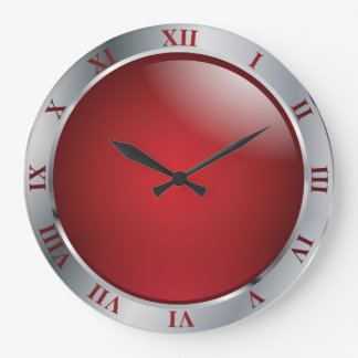 Simply Silver and Red Wall Clocks