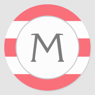 Simply Stripes Monogram Label / Bold Coral Round Sticker