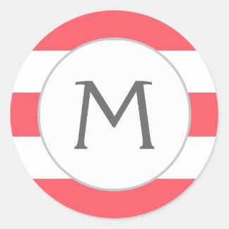Simply Stripes Monogram Label / Bold Coral Round Sticker