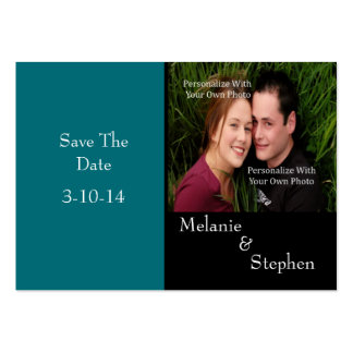 Simply Stunning Deep Aqua Photo Save The Date Card Large Business Cards (Pack Of 100)