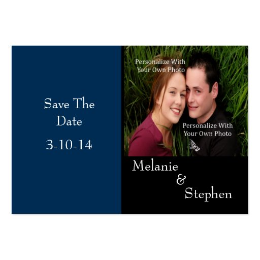 Simply Stunning Deep Navy Photo Save The Date Card Business Card Templates