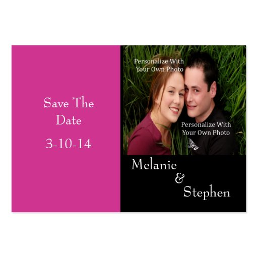 Simply Stunning Popping Pink Photo Save The Date Business Card Template