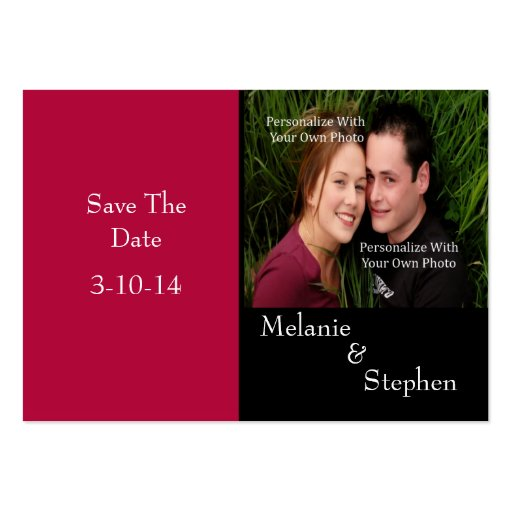 Simply Stunning Radiant Red Photo Save The Date Business Card Templates