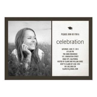 Simply Timeless Modern Canvas Graduation Photo Custom Announcements