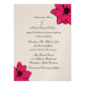 Simply Tropical Flowers On Champagne Personalized Invitation