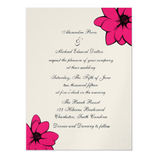 Simply Tropical Flowers On Champagne 17 Cm X 22 Cm Invitation Card