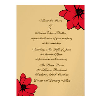 Simply Tropical Flowers On Gold Custom Announcements