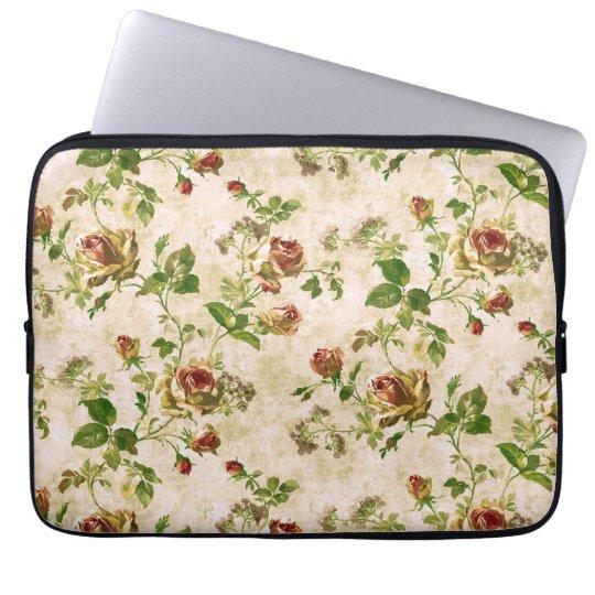 Simply Vintage Antique Cottage Roses Laptop Sleeve