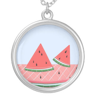 Simply Watermelon Round Pendant Necklace