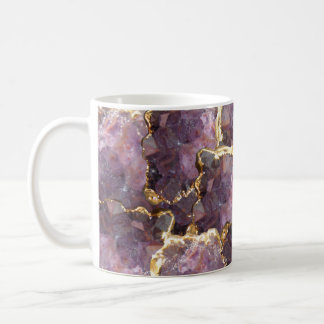 Simplydone Amethyst crystal and gold collage mug