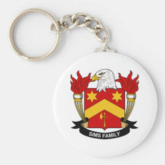 Sims Family Crest Basic Round Button Key Ring
