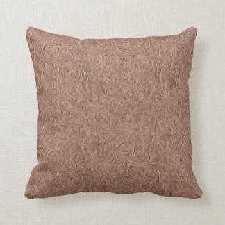Simulated Tooled Leather Designer Throw Pillows