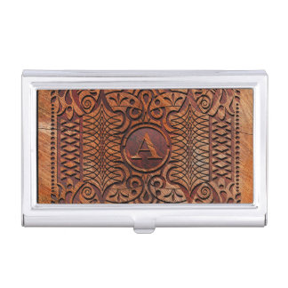 Simulated Wood Carving Monogram A-Z ID446 Business Card Holder