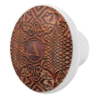 Simulated Wood Carving Monogram A-Z ID446 Ceramic Knob