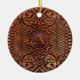Simulated Wood Carving Monogram A-Z ID446 Ceramic Ornament