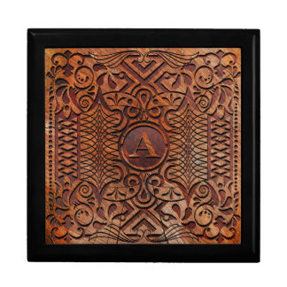 Simulated Wood Carving Monogram A-Z ID446 Gift Box