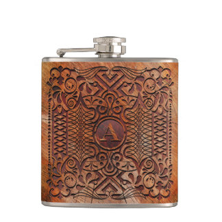 Simulated Wood Carving Monogram A-Z ID446 Hip Flask