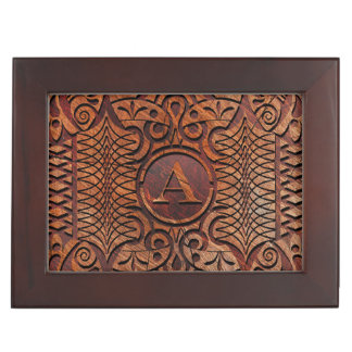 Simulated Wood Carving Monogram A-Z ID446 Keepsake Box