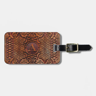 Simulated Wood Carving Monogram A-Z ID446 Luggage Tag