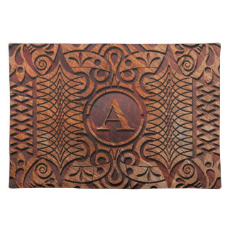 Simulated Wood Carving Monogram A-Z ID446 Placemat