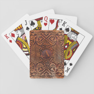 Simulated Wood Carving Monogram A-Z ID446 Playing Cards